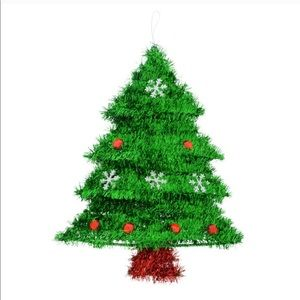 Christmas Tinsel Tree with Ornaments nwt